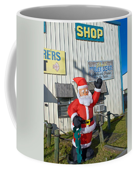 Florida; Christmas; Gift; Santa; Claus; Suggestion; Suggest; Present; Recommend; Recommendation; Cap Coffee Mug featuring the photograph Seashell Seats For Christmas by Allan Hughes