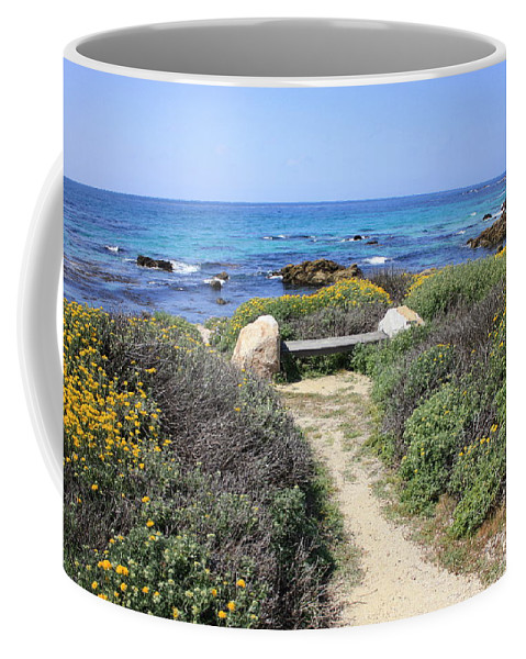 Landscape Coffee Mug featuring the photograph Seaside Bench by Carol Groenen