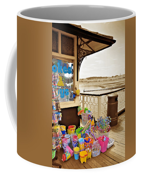 Seaside Coffee Mug featuring the photograph Seaside Buckets And Spades For Sale On Llandudno Pier by Mal Bray