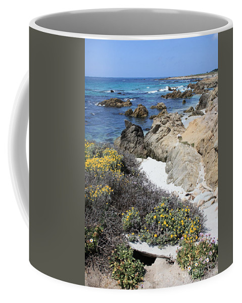Landscape Coffee Mug featuring the photograph Seaside Flowers And Rocky Shore by Carol Groenen