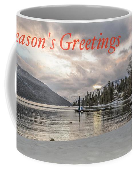 Christmas Card Coffee Mug featuring the photograph Season's Greetings- Cabin On The Lake by Joy McAdams