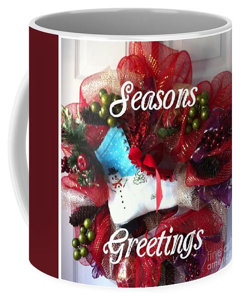 Seasons Greetings Old Skate Coffee Mug featuring the photograph Seasons Greetings Old Skate by Barbara Griffin