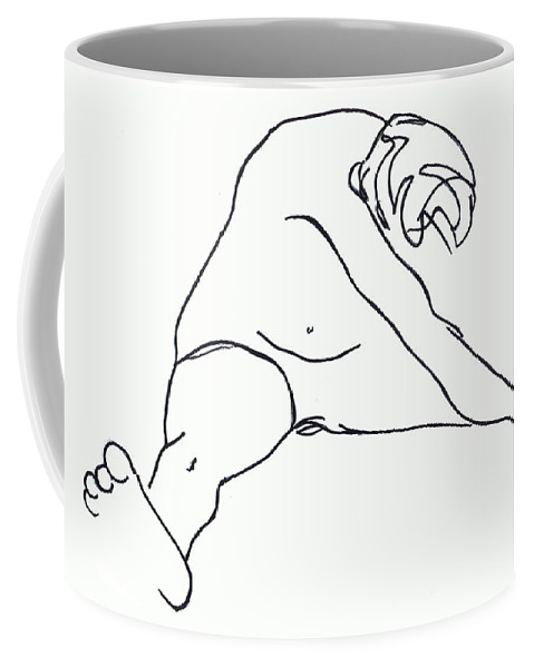 Figure Coffee Mug featuring the drawing Seated Figure by Nancy Mueller