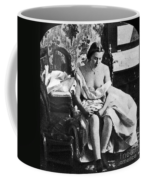 1861 Coffee Mug featuring the photograph Seated Nude, C1861 by Granger