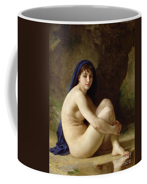 Female; Sitting; Naked; Bare; Cross-legged; Water; Headscarf; Distracted; Thoughtful; Pensive; Reflection; Neo-classical; Blue Cloak; Outdoors; Sat Coffee Mug featuring the painting Seated Nude by William Adolphe Bouguereau