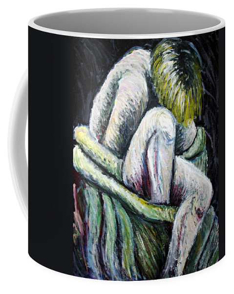 Woman Coffee Mug featuring the painting Seated Woman Abstract by Nancy Mueller