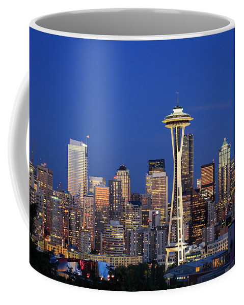 3scape Photos Coffee Mug featuring the photograph Seattle At Dusk by Adam Romanowicz