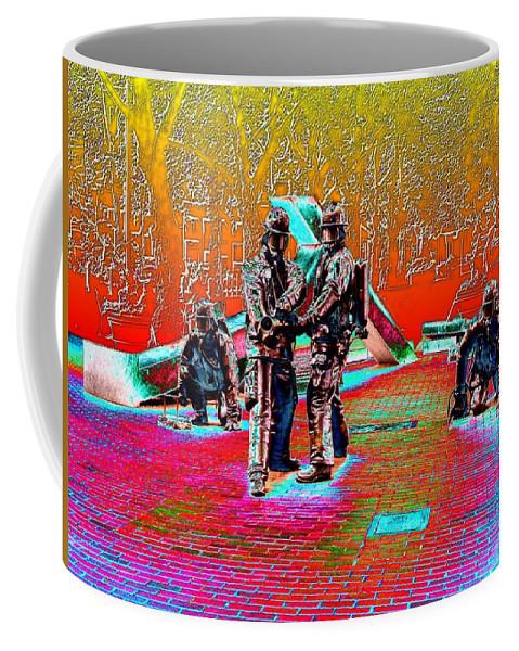 Seattle Coffee Mug featuring the digital art Seattle Fire Fighter Memorial by Tim Allen