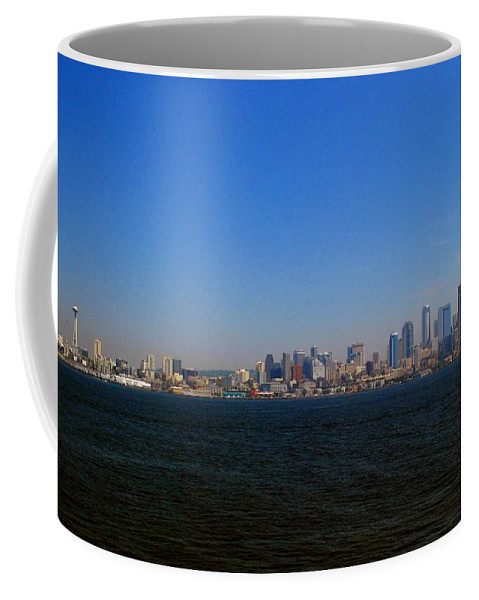 Space Needle Coffee Mug featuring the photograph Seattle Skyline And Space Needle by Gary Wonning
