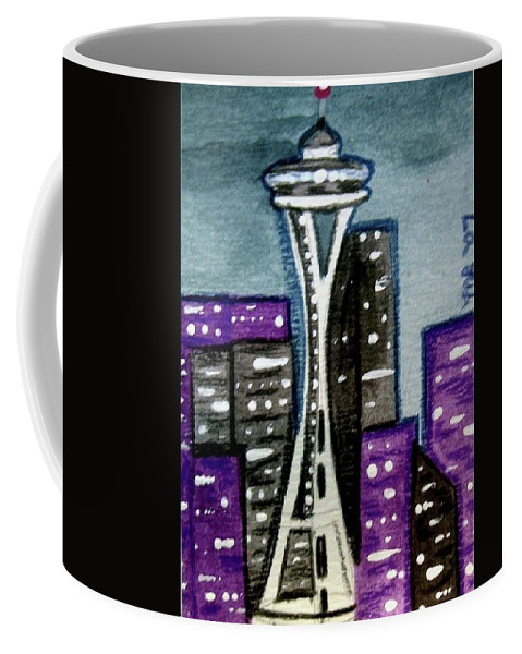Space Needle Coffee Mug featuring the painting Seattle Space Needle Cityscape by Monica Resinger