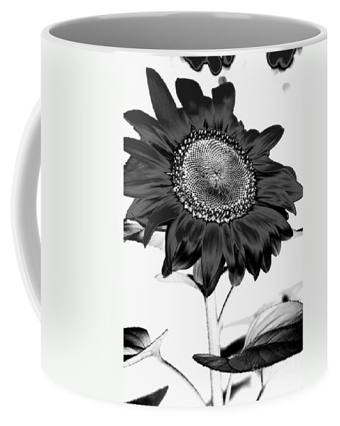 Black And White Photography Coffee Mug featuring the photograph Seattle Sunflower Bw Invert - Stronger by Heather Kirk