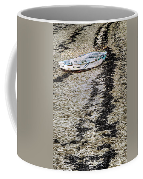 Unusual Boat Image Coffee Mug featuring the photograph Seaweed And Sand by Janet Ballard