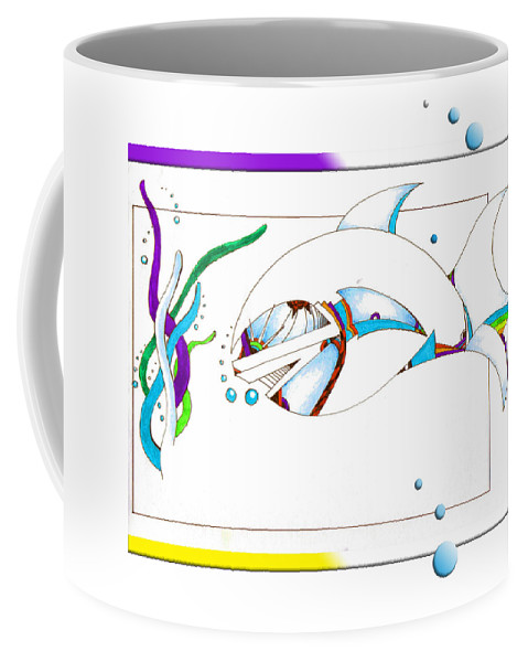 Fish Coffee Mug featuring the drawing Seaweed Fish Illustration by Jean Habeck