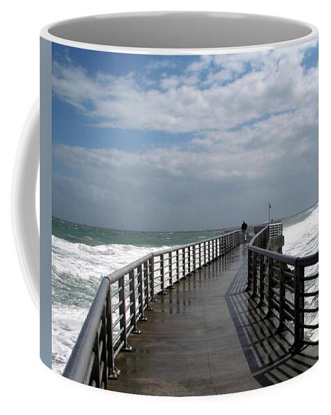 Walk; Solitary; Lonely; Sebastian; Inlet; Florida; Sea; Ocean; Water; Surf; Atlantic; Jetty; Waves; Coffee Mug featuring the photograph Sebastian Inlet On The Atlantic Coast Of Florida by Allan Hughes