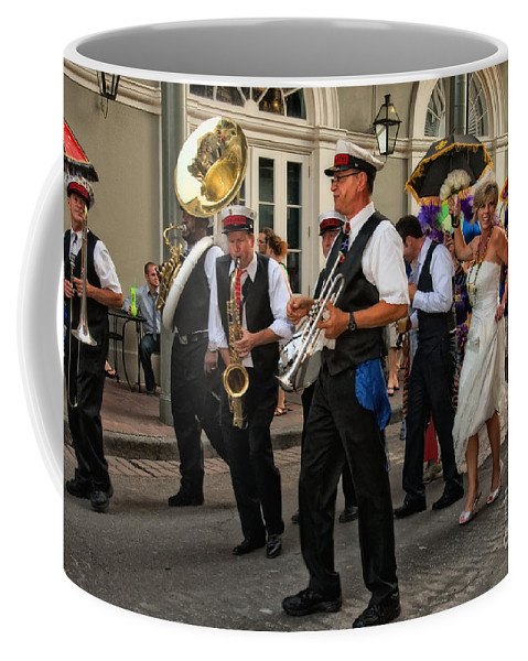 New Orleans Prints Coffee Mug featuring the photograph Second Line Wedding On Bourbon Street New Orleans by Kathleen K Parker
