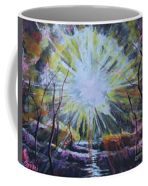 Landscape Coffee Mug featuring the painting Secret In The Forest by Stefan Duncan