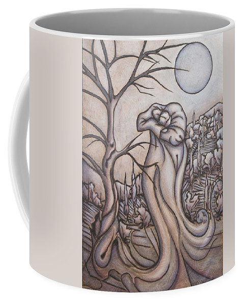 Dream. Moon Coffee Mug featuring the painting Secrets and Dreams by Judy Henninger