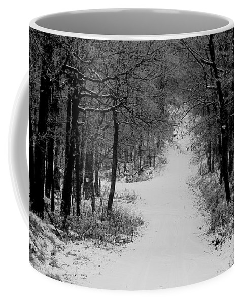 Snow Coffee Mug featuring the photograph See Where It Leads. by Jean Macaluso