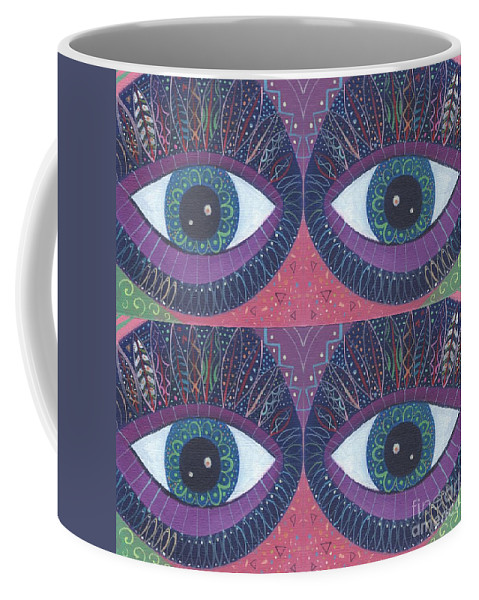 Eyes Coffee Mug featuring the digital art Seeing Double - Tjod 38 Compilation by Helena Tiainen