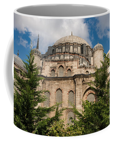 Fatih Istanbul Turkey Sehzade Mosque Mosques Dome Domes Place Of Worship Places Of Worship Structure Structures Building Buildings Architecture Tree Trees Landscape Landscapes Cityscape Cityscapes Coffee Mug featuring the photograph Sehzade Mosque by Bob Phillips