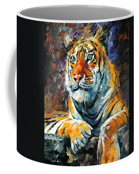 Painting Coffee Mug featuring the painting Seibirian Tiger by Leonid Afremov