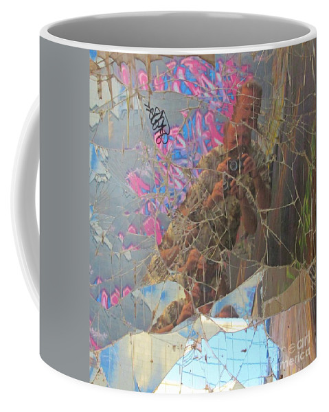 Garbage Cans Coffee Mug featuring the photograph Self Portrait In Broken Glass Found In Graffiti Alley by John Malone