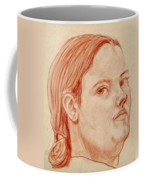 Face Coffee Mug featuring the pastel Self Portrait by Jean Haynes
