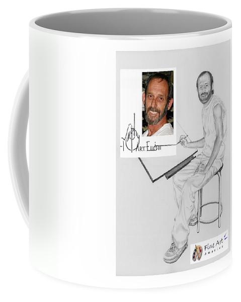 Pencil Coffee Mug featuring the drawing Self Portrait by Murphy Elliott