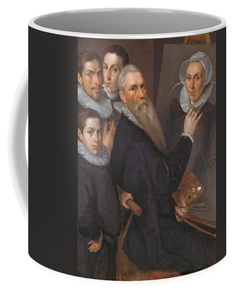 Jacob Willemsz Delff The Elder Coffee Mug featuring the painting Self Portrait Of The Painter And His Family by Jacob Willemsz Delff the Elder