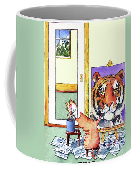 Tiger Coffee Mug featuring the painting Self Portrait, Tiger by Jim Tweedy