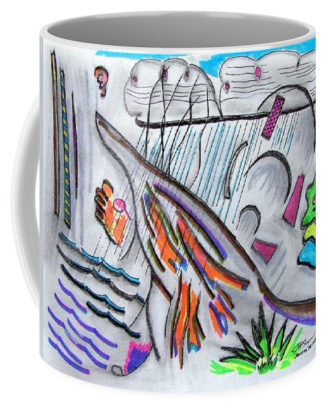 Abstract Drawing Coffee Mug featuring the drawing Sensing The Precipice by J R Seymour
