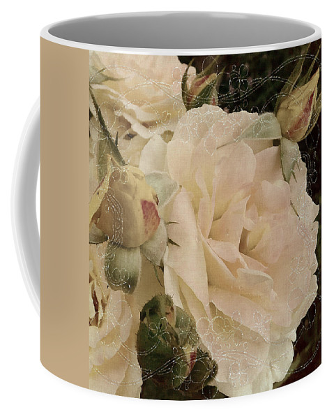 Roses Coffee Mug featuring the mixed media Sensual Kiss Of Yesteryear by Georgiana Romanovna