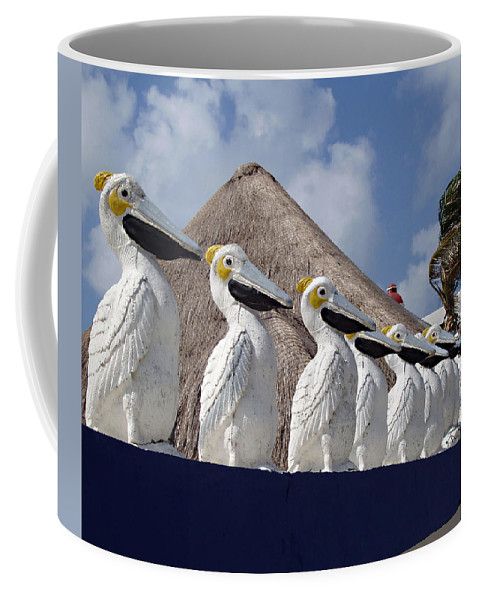 Sentry Pelicans Coffee Mug featuring the photograph Sentry Pelicans by Ellen Henneke