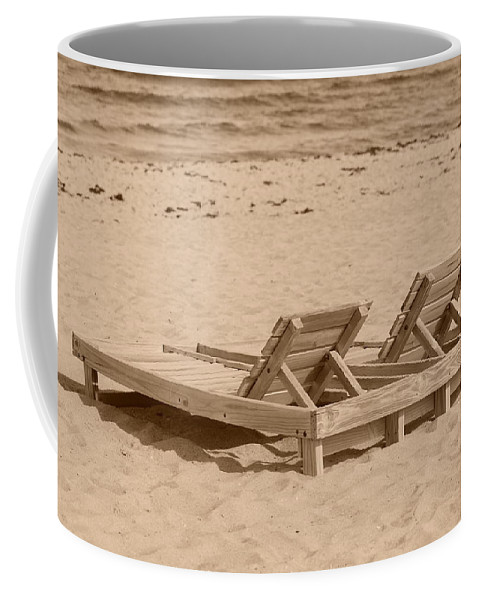 Chez Lounge Coffee Mug featuring the photograph Sepia Chairs by Rob Hans