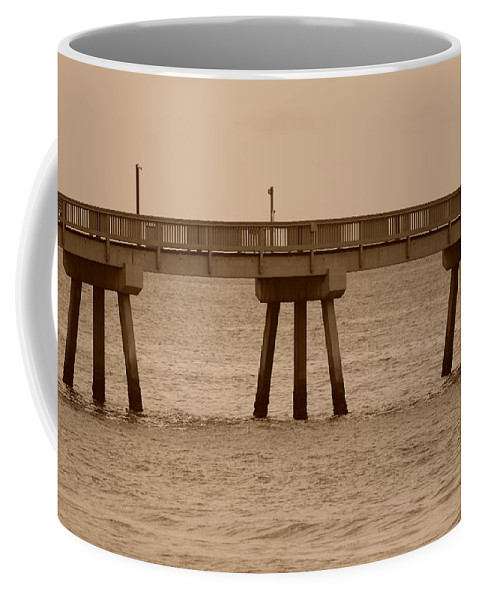 Sepia Coffee Mug featuring the photograph Sepia Pier by Rob Hans