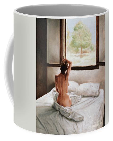 Bed; Waking Up; Female; Woman; Nude; Bedsheets; Sheets; Window; View; Tree Coffee Mug featuring the painting September Morning by John Worthington