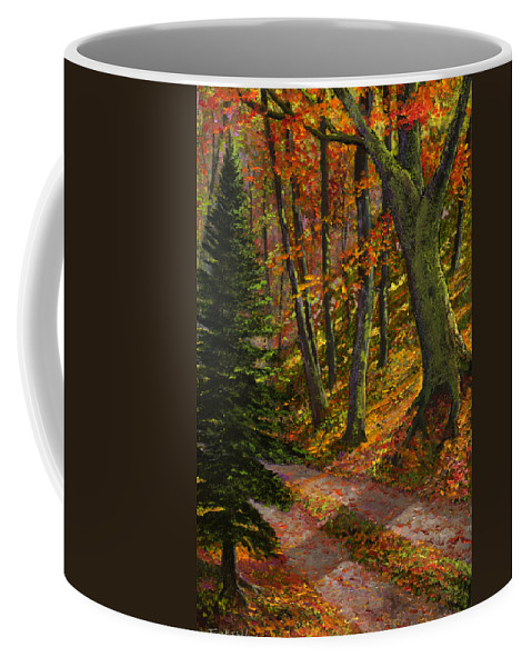 Road In The Woods Coffee Mug featuring the painting September Road by Frank Wilson