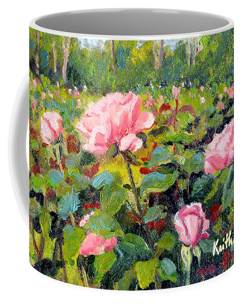 Impressionism Coffee Mug featuring the painting September Roses by Keith Burgess