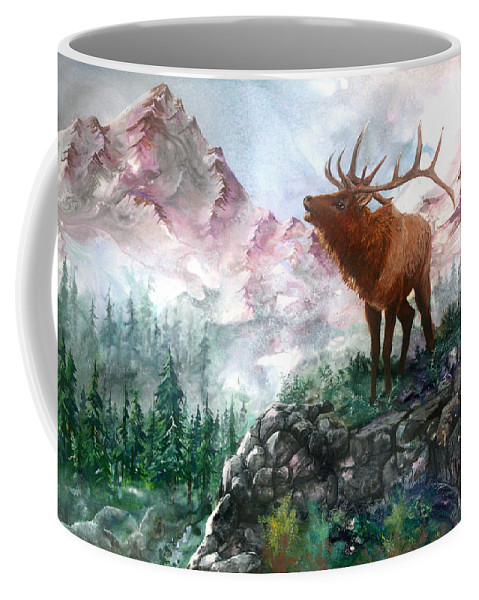 Elk Coffee Mug featuring the painting September Song by Sherry Shipley