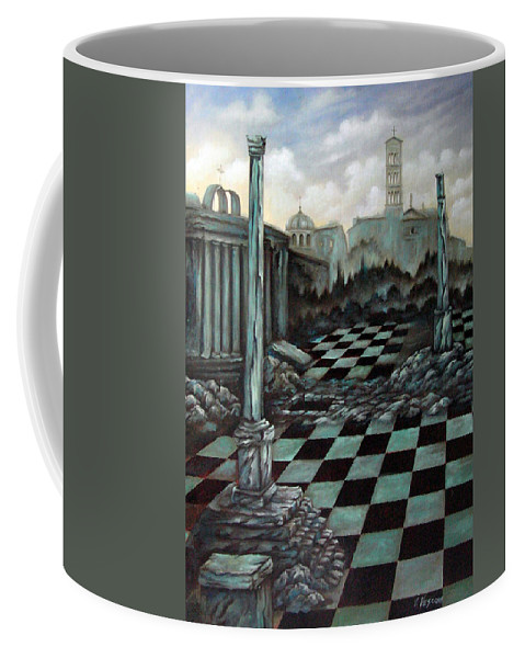 Surreal Coffee Mug featuring the painting Sepulchre by Valerie Vescovi