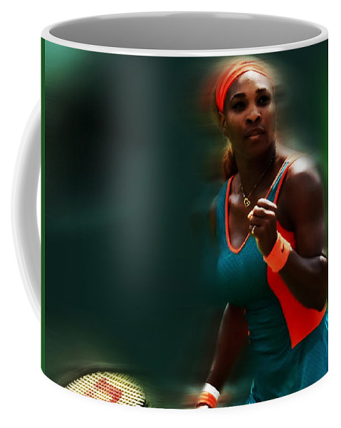 Serena Williams Coffee Mug featuring the mixed media Serena Getting It Done by Brian Reaves