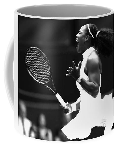 Serena Williams Coffee Mug featuring the mixed media Serena Williams Making Magic Happen by Brian Reaves