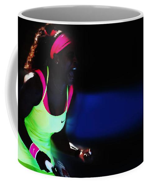 Serena Williams Coffee Mug featuring the mixed media Serena Williams Triumpant by Brian Reaves