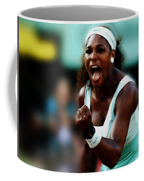 Serena Williams Coffee Mug featuring the mixed media Serena Winning Spirit by Brian Reaves
