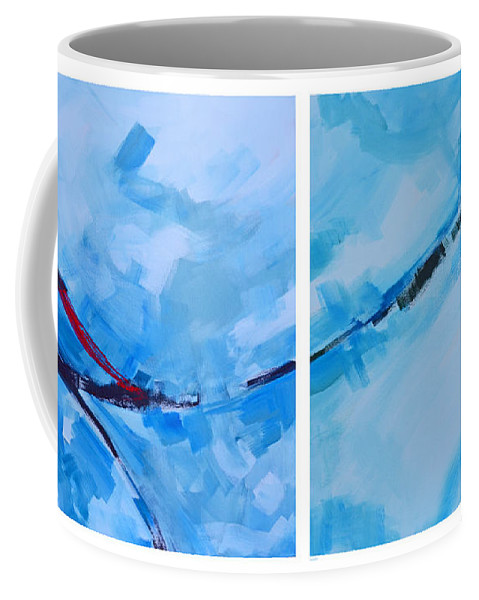 Abstract Minimalist Acrylic Painting Blue Hues Coffee Mug featuring the painting Entangled No.7 - Abstract Painting by Patricia Awapara