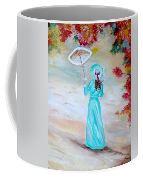 Victorian Coffee Mug featuring the painting Autumn Walk by Lynne Messeck