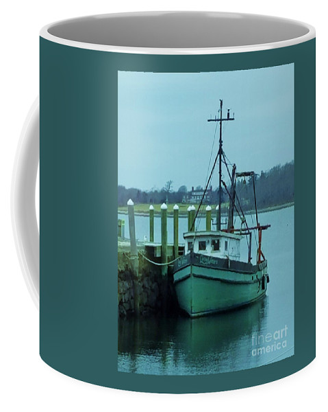 Boat Art Water Rhode Island Serenity Placid Reflections Pier Fishing Vessel Nautical Bristol Tranquil Vertical Vision Transportation Industrial New England Poster Print Metal Frame Canvas Print Available On Greeting Cards Tote Bags Phone Cases Mugs Shower Curtains And T Shirts Coffee Mug featuring the photograph Serenity In Bristol Rhode Island by Marcus Dagan