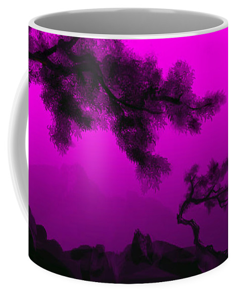 Japanese; Sunset; Mountains; Trees; Rising; Sun; Contemporary; Purple; Pink;sunrise; Sunset Coffee Mug featuring the painting Serenity by James Christopher Hill