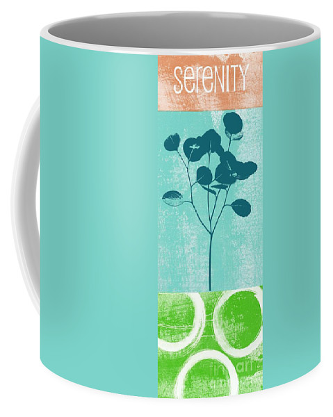 Serenity Coffee Mug featuring the mixed media Serenity by Linda Woods