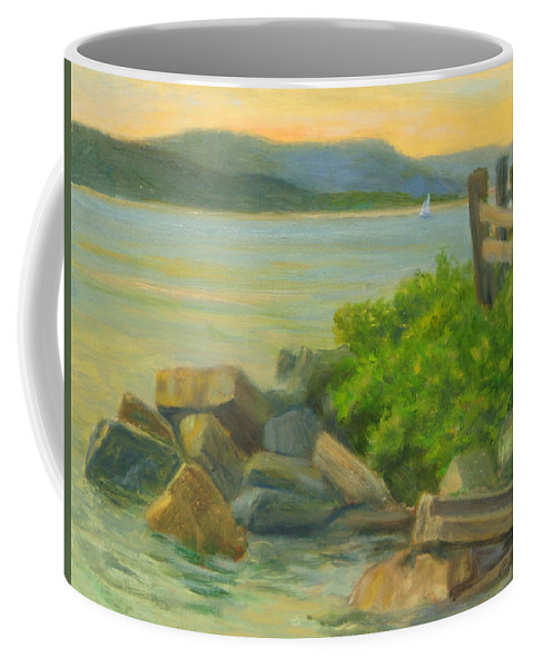 Landscape Coffee Mug featuring the painting Serenity on the Hudson by Phyllis Tarlow